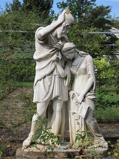 The sculpture Jephthah and his Daughter by Emil Wolff, Erbach in the Rheingau region, Hesse, Germany.