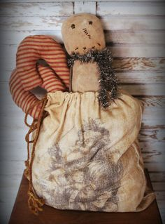 Primitive Santa Toy Bag filled with Candy Canes & by BeckysPrims