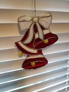 Stained Glass Bells with BowChristmas DecorationsHanging