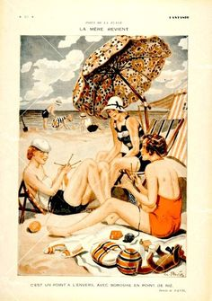 At the Seashore!  vintage French illustration knitting beach beauties