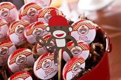 Sock monkey lollipops (made with stickers) & a sock monkey cut-out (made with a Cricut)