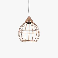 Our Geometric Rose Gold Pendant is a stylish light weight geometric wire cage pendant light in copper rose gold finish.