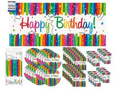Rainbow Ribbon Birthday Party Supply Pack Bundle Serves 16 with Giant Banner - http://partythings.com/rainbow-ribbon-birthday-party-supply-pack-bundle-serves-16-with-giant-banner.html