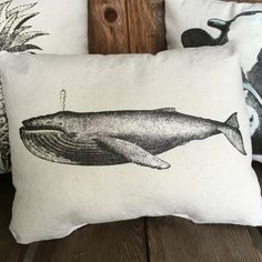 Humpback whale pillow. Handmade rustic canvas pillow. Nautical nursery, nautical decor, whale pillow