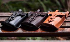 Hip Satchel Custom Vintage Leather Hip Bag Convertible Handmade Waist Pouch Purse w/ Shoulder Strap & Belt Loops - Fanny Pack iPhone 5, 4s