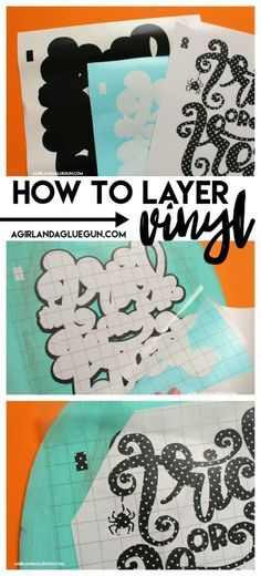 """You guys got to see my fun double sided pumpkins HERE…(plus free cut files) But I wanted to put together a tutorial on how to layer vinyl. This cut file has 3 layers and needed to line up perfectly. Sometimes I just wing it and eyeball and call it """"good enough"""" but for this…I didn't …"""