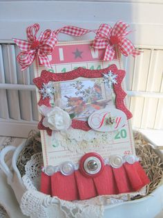 shabby chic winter birds christmas GIVE JOY  bingo card altered sign plaque decoration