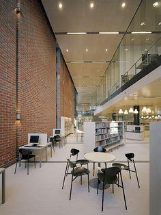 Lohja Main Library, Lohja, Finland - Lahdelma & Mahlamäki Architects Red Brick Walls, Main Library, Red Bricks, Public Service, Finland, Architects, Concrete, Building, Home