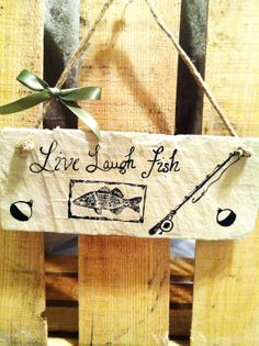 Live Laugh Fish Sign, Fishing sign, hand painted slate sign, Bass Decor, Bass Sign
