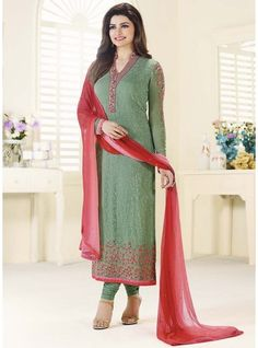 Light Green Colour Faux Georgette Fabric Embroidered Straight Cut Suit-3216