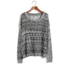Mixed line hollow bat sleeve loose knit sweater