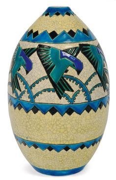 very rare form. Polychrome repetitive design with stylized birds. 1929, Charles Catteau - Keramis Made in Belgium