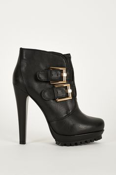 Double Buckle Strap Chunky High Heel Thick Platform Ankle Boots.  £10.99