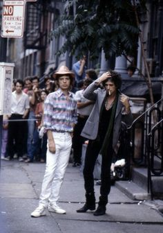 Mick and Keith filming video of Waiting On A Friend in St Marks Place, New York City, 1981 Mick Jagger Rolling Stones, Los Rolling Stones, Like A Rolling Stone, Charlie Watts, Keith Richards, Waiting On A Friend, Rollin Stones, Stone World, Evolution Of Fashion