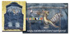 Chaleco vaquero pintado a mano con pinturas muy resistentes a los lavados. Scrat trompetista.  www.facebook.com/vasniworld