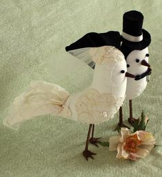 Bird Cake Topper - Fabric Birds with alencon lace applique - Wedding Cake Topper. $188.00, via Etsy.
