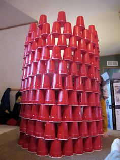 Fun Kids Activity and easy to store afterwards - Building with Red Solo cups - How high with a limited number.  My boys love doing this!  Great inexpensive thing to do when traveling to grandparents house.  :)
