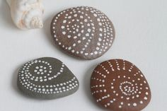 Painted Pebbles Beach Stones Decor Tribal by EchidnaArtandCards