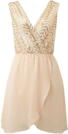 Sequin Top with Cross Over Chiffon Skirt - Lyst