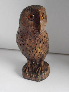 Owl Vintage Woodcast Sculpture, Unique design, Pecan shell, Screech Owl