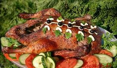 Goose baked whole.