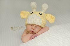 Baby boy hat baby girl hat crochet giraffe by BriarRoseCraftyThing Baby Girl Hats, Girl With Hat, First Baby Pictures, Crochet Costumes, Giraffe Nursery, Giraffe Baby, Crochet Baby, Hat Crochet, Newborn Crochet