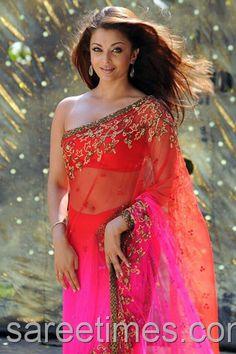 Aishwarya Rai in bright Ombre Saree in 2010's Endhiran / The Robot