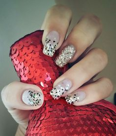 Glitter nails by nails art.