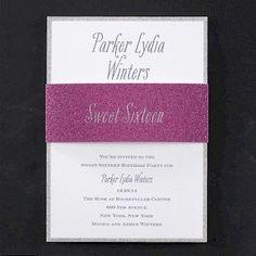 Girly Glitter Sweet Sixteen Invitation