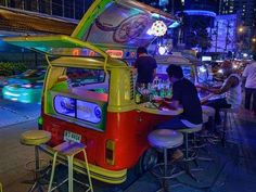 VW buses used as bars in Bangkok