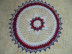 HAND CROCHETED PATRIOTIC 4TH OF JULY LACE DOILY