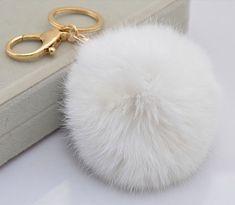 White Cute Genuine Rabbit or Fox fur pom pom ball plush key chain for car key ring Bag Pendant