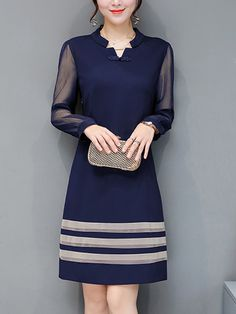 Sweet Heart  See-Through  Decorative Button  Color Block  Polyester Shift Dress