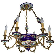 French 19th Century Bronze and Gien Faience Six Arm Chandelier