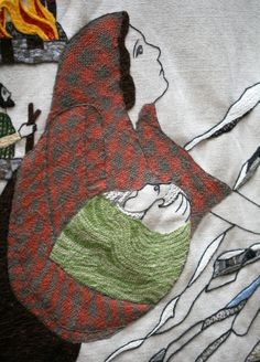 Great tapestry of Scotland (blog post) Panel 54: The massacre at Glencoe. Love the way the weave of the shawl is done.