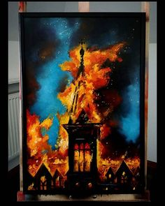 SundayBurningSunday OlejNaSzmacie 60x40 #maciejmaciejak #needlessthingsworkshop #oilpainting #oiloncanvas #church #burningchurch #painting#painter#polishartist #beksinski #beksiński #flames #fire #finearts #artwork #artistic #architecture #architecturelovers #draw#drawings #watercolour#malarstwo #rysunek #asp#darkartists #darkart#apocalypse#darkpainting#obraz#void