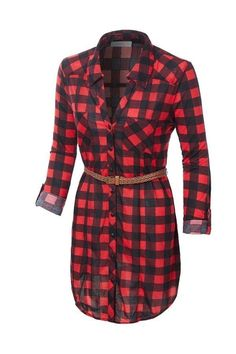 Button down, rolled sleeves, front pockets, • Shirt dress cut, waist tie, round hemline • Lightweight and breathable fabric Plaid was never so pretty as with the Women's Button Front Plaid Shirt Dress