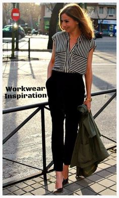 5eb2dc7f2c7 The cropped dress pants make this outfit perfect for a summer office look.