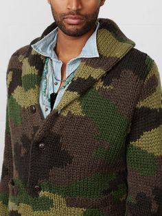 very cute: Camo Shawl-Collar Cardigan Mens Shawl Collar Sweater, Men Sweater, Camo Fashion, Mens Fashion, Military Chic, Military Army, Knitwear Fashion, Men's Knitwear, Fashion Clothes