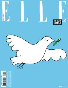 Elle: Die französische Ausgabe der Modezeitschrift lässt aus Solidarität mit Charlie Hebdo eine Friedenstaube inklusive Bleistift fliegen.