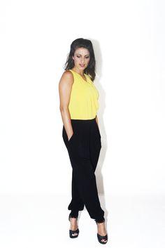 #DIESSE #SpringSummer2016 #shirt-Sleeveless long overalls, criss-crossed neck with drapery, color block print #model #StellaScorzo #photographer #MariannaDepasquale #designer #DiegoSalerno  http://www.diessefashion.it/