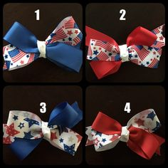 4th of July Hair Bows (4 to choose from and can customize finish) by CreationsByDMPN on Etsy
