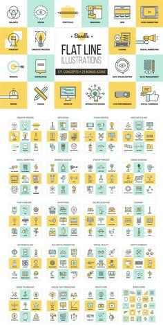 Big Pack of Flat Line Illustrations Modern Creative Design Bundle