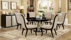Shop OC Furniture for lowest prices on formal elegant dining room furniture. Checkout the Furniture of America Espresso Champagne Round Dining Set. Luxury Dining Room, Elegant Dining Room, Dining Room Design, Dining Room Furniture, Dining Room Table, Dining Chairs, Room Chairs, Coaster Furniture, Side Chairs