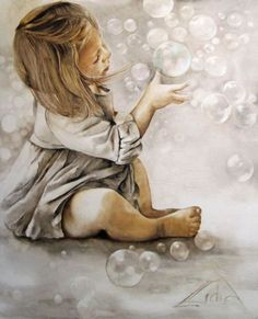 Illustration Kids Bubbles by Lidia Wylangowska Watercolor Landscape, Watercolor Paintings, Watercolor Trees, Abstract Paintings, Grey Art, Human Art, Angel Art, Watercolor Portraits, Beautiful Paintings