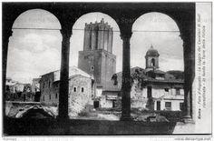 Roma Sparita - La Torre delle Milizie e il convento su via della Torre prima delle demolizioni dalla Loggia dei Cavalieri di Rodi appena ripristinata