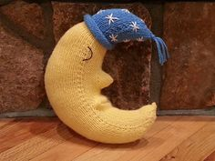 Goodnight Moon is knit in the round, with no seaming required. The pattern is easily memorized because it is the same three rounds repeated from one end to the other. Gussets are added for the nose and mouth. The night cap can be personalized with stripes, tassels, embroidery, etc. Measurements after stuffing are 12 X 6 inches.