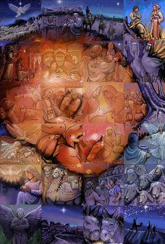 Mozaiek van Lewis Lavoie met 24 afbeeldingen over het kerstverhaal.