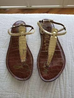 a64b34d93d9f SAM EDELMAN Gigi Thong T Strap Flat Women s Sandals Sz 7M gold  fashion   clothing