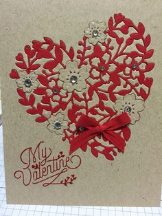 """Valentine's Card I made using """"Stampin' Up""""It the """" Bloomin Love stamp and Bloomin Heart thinlit Die."""